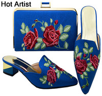 High Quality African Upscale Shoes And Bag Set Fashion Rhinestones Woman High Heels Shoes And Matching