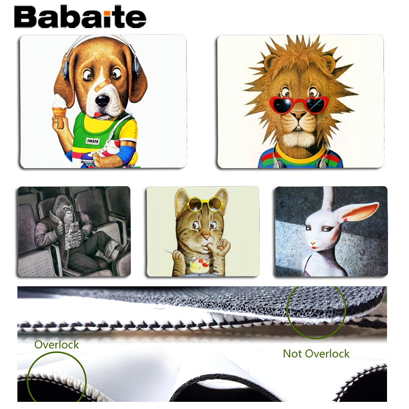 Babaite New Arrivals Hand drawn cartoon animals Computer Gaming Mousemats Size for 180x220x2mm and 250x290x2mm Small Mousepad