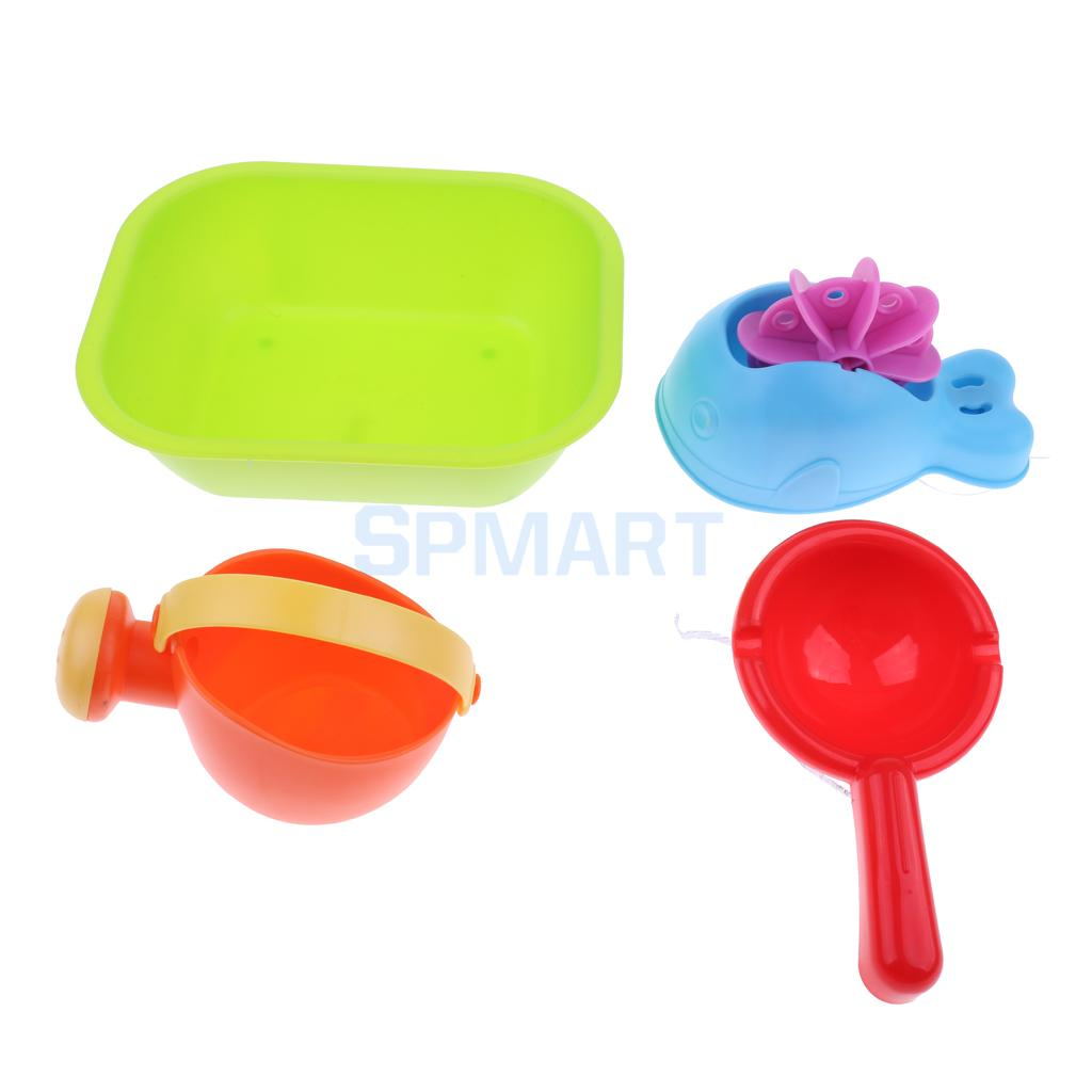 Set Of 4pieces Childrens Water Bath Beach Sand Garden Toy Tool Kit Kid Outdoor Sandpits Play Toy Waterwheel Watering Can