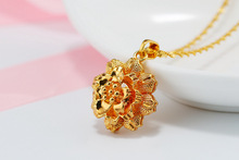 new Simulation Golden Rose Flower Imitation Three-dimensional Sunflower bud Hollow Petal Round Four-leaf clover jewelry
