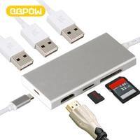 QQPOW 7 in 1 USB C Hub Aluminum Multi Port Adapter USB C Combo Hub for MacBook Pro USB C Hub to 4K HDMI, 3 USB
