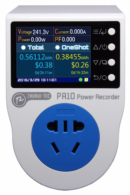 PR10-A UA 10A plug/puissance enregistreur/compteur d'énergie/peut mesure/record/alarme/calendrier/0.1 ~ 2500 w
