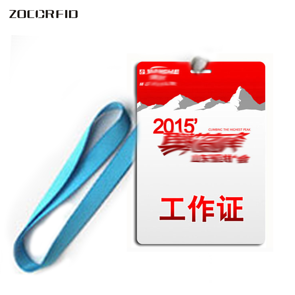 10pcs Work ID Card Badge  125KHZ ID EM Card  Photo Access Control Cards, 85.5X54mm Size + Rope