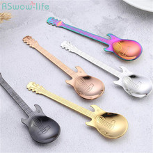 Stainless Steel Guitar Spoon Creative Gift Coffee Ice Bar Music Party Gifts for Guests