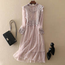 JOYINPARTY высокое качество женское элегантное кружевное платье повседневное с длинным рукавом Плюс Размер Женская одежда женские платья трапециевидной формы
