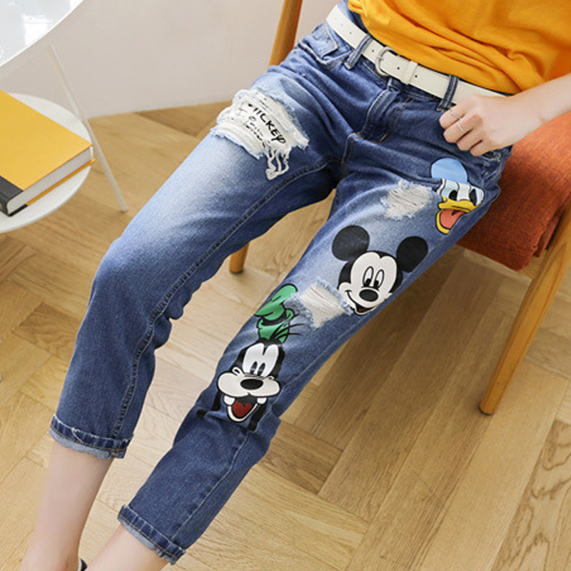 2016 New Fashion Women Jeans Ripped Cute Cartoon Mouse Embroidery Loose Casual Feet Pencil Jeans Pants Holes Denim Plus Size elsi el026awicq36 elsi