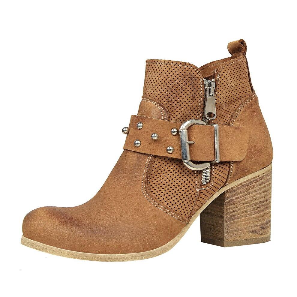Talons Pour Bottes 2018 Hauts En Rétro Chaussures Hiver De Nouvelles Femme  Cuir Boucle Cheville Ceinture Mode Noir ... 741e942f657