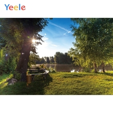 Yeele Landscape Photocall Park Wood Bench Pool Tree Photography Backdrops Personalized Photographic Backgrounds For Photo Studio