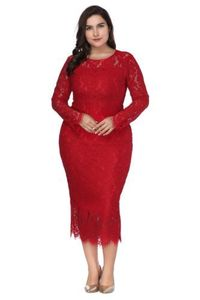 Image 5 - Women Plus Size Elegant Evening Dresses 2020 Cheap Full Lace Cocktail Party Gowns White Formal Dress Long Sleeve Robe De Soiree