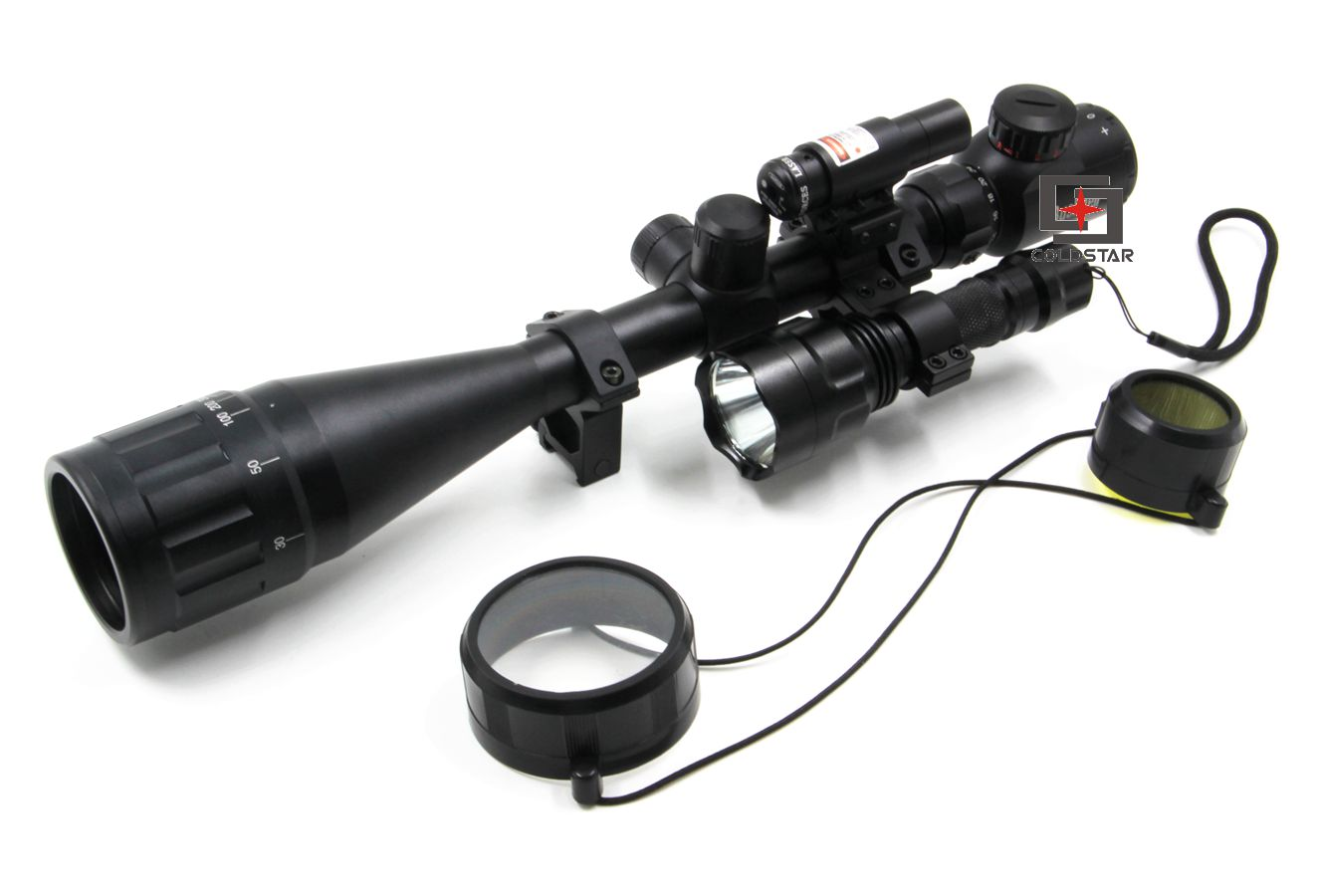 Hunting Compact Combo Air 6-24x50AOE Hunting Rifle Scope w/ Laser & CREE T6 LED Hunting Flashlight 5Mode C8 Torch Flash Light