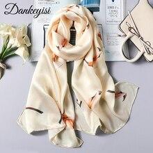 DANKEYISI Women Long Silk Scarf Female Shawl Women High Quality 100% Pure Silk Scarfs Wraps Lady Foulard Hijab Scarves