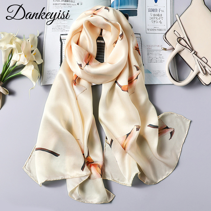 DANKEYISI Women Long Silk   Scarf   Female Shawl Women High Quality 100% Pure Silk Scarfs   Wraps   Lady Foulard Hijab   Scarves