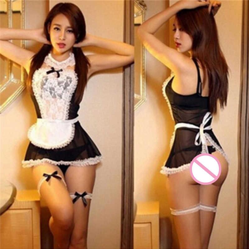 1set Sexy Diepe V-hals Meid Cosplay Kostuum Set Sexy Vrouwen Babydoll Sexy Lingerie Hot Serveerster Erotische Uniform Lingerie