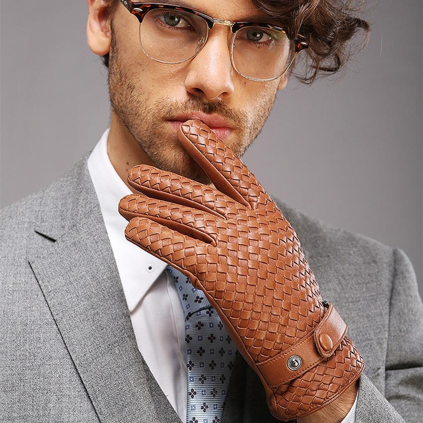 2019 New High-end Weave Men Genuine Leather Gloves Fashion Solid Wrist Sheepskin Glove Man Winter Warmth Driving M025NN-9