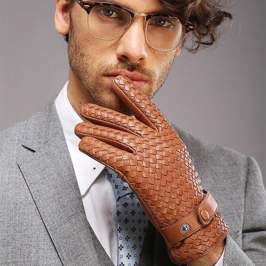 2019 nouveau haut de gamme armure hommes gants en cuir véritable mode solide poignet en peau de mouton gant homme hiver chaleur conduite M025NN-9