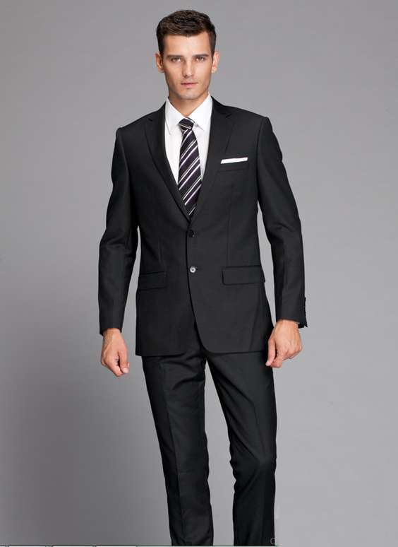Wool Two Buttons Notch Lapel Black Formal Grooms Suits For Wedding ...