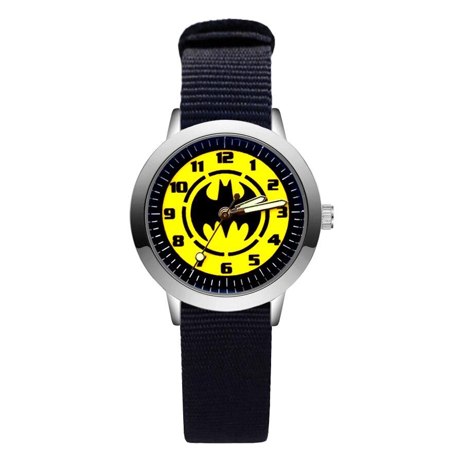 Cartoon Cute Pretty Batman Style Children\'S Watches Kids Student Girls Boys Quartz Nylon Strap Wrist Watch