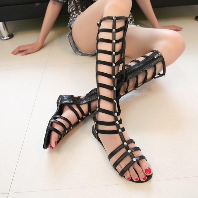 d803f81b2d0 Ladies Tall Calf Knee High Leg Womens Flat Strappy Gladiator Sandals Shoes  Sizes CD042701qmm4mae