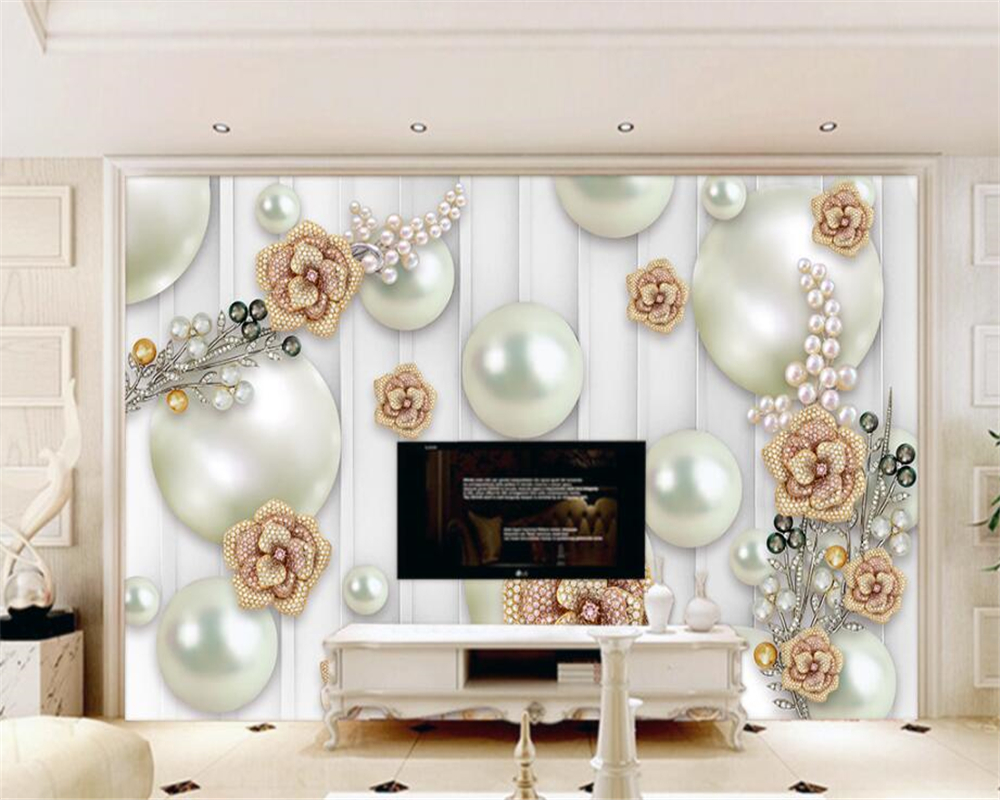 beibehang Modern Home Background Decorated 3D Wallpaper Pearl and Rose Jewelry photo wall mural wallpaper papel de parede tapety 63 rose de mai