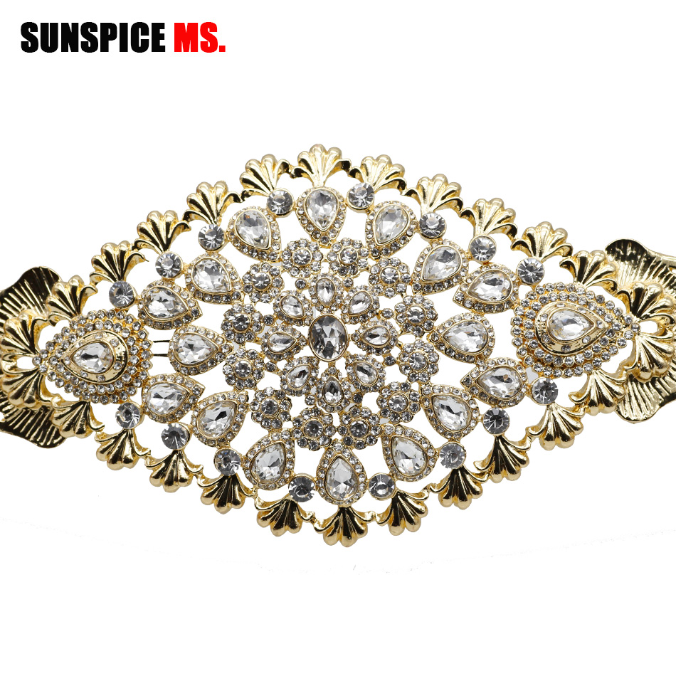 SUNSPICE-MS Mode Marocain Chic Caftan De Mariage ceinture métallique Pour Femmes Or Couleur Ajuster La Longueur chaîne de taille bijoux de mariée Cadeaux