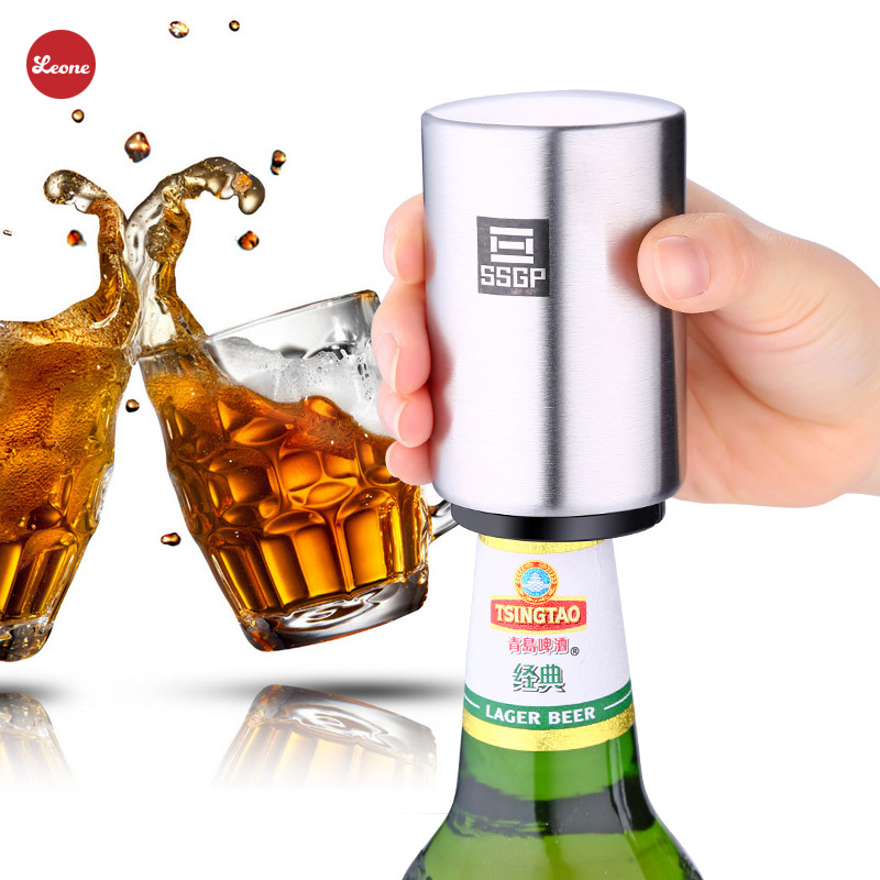New Stainless Steel Beer Bottle Opener Automatic Press magnetic Bottle Openers corkscrew Soda Cap Bar Kitchen Tools Accessaries