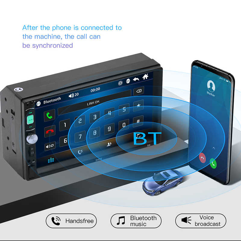 """2 Din Car Audio 7 """"espejo enlace navegación Radio reproductor MP5 Bluetooth manos libres A2DP USB SD ISO pantalla táctil unidad principal hyee X4"""