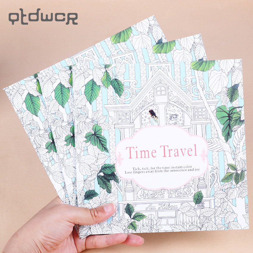 1 PC 24 Pages New Time Travel Adult English Version Graffiti Coloring Book Kids Painting Books For Children Office Stationery
