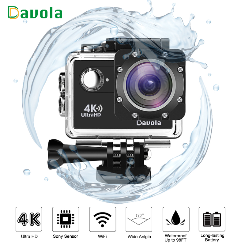 Davola 4K Action Camera WiFi Waterproof underwater diving go Sport Camera HD 1080P Outdoor sports mini Helmet pro action cam DVR wimius 4k action cam wifi 20m mini sport helmet fpv camera full hd 1080p go waterproof underwater 30m pro dvr for bike motorcyle