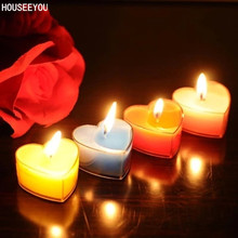 Heart-shaped Candles Flameless Romantic Scented Candles for Courtship Confession Birthday Wedding Party Home Decoration 10Pc/Set