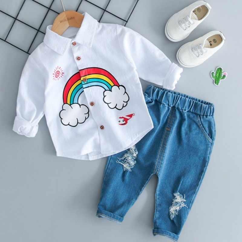 Комплект для мальчиков, одежда для новорожденных, детская Радужная футболка для маленьких мальчиков и девочек, комплект из топа и джинсов с дырками и штанов