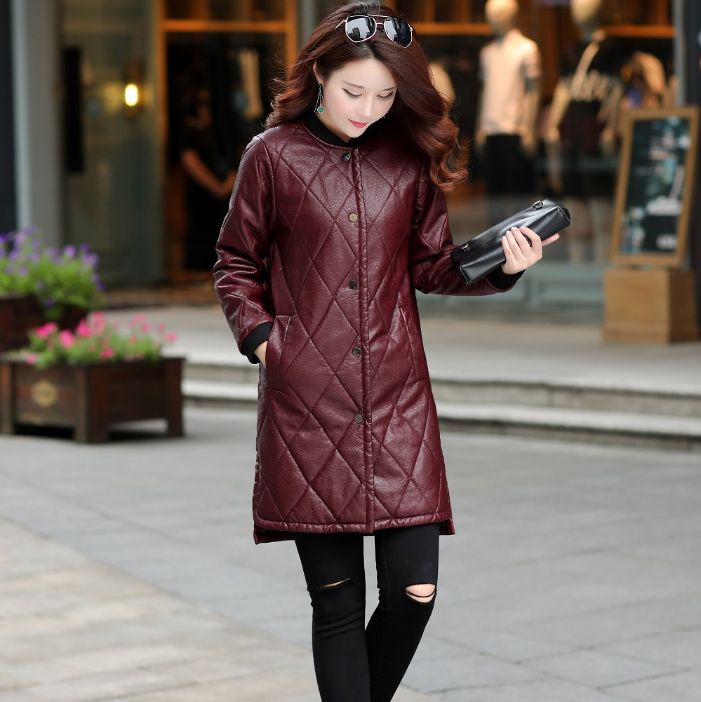 2018 Winter fashion new female Long   leather   Coat stand collar Slim jacket long-sleeved women Trench   Suede   coat Outwear Clothing