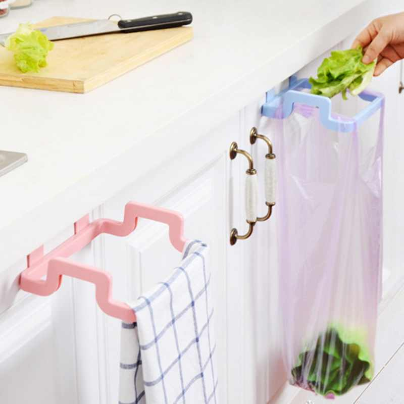 Multifunctional Plastic Kitchen Organizer Towel Rack Door Back Hanging Style Cabinet Stand Trash  Bags Organizer Support Holder