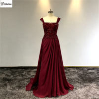 surmount 100% Silk Dresses A line Sleeveless Spaghetti Strap Evening Dresses Formal Party Dress Prom Gown Floor Length