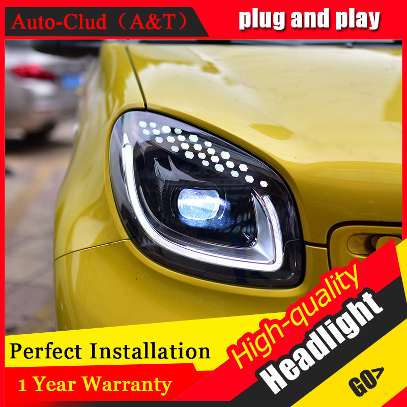 Auto Clud Car Styling For Smart headlights For Smart head lamp led DRL front Bi-Xenon Lens Double Beam HID KIT auto clud style led head lamp for benz w163 ml320 ml280 ml350 ml430 led headlights signal led drl hid bi xenon lens low beam