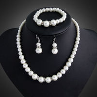 hot sell new New Fashion Bridal Jewelry Set Pearl Necklace Stud Earring Bracelet Set 5RT56