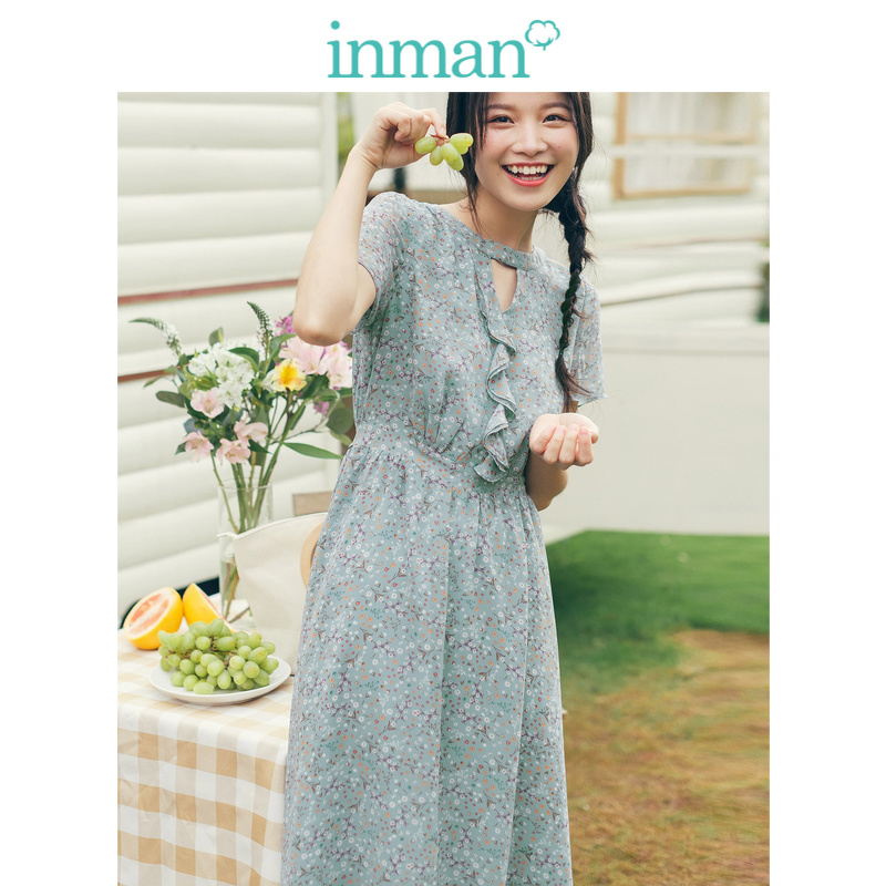 INMAN 2019 Summer New Arrival Lace Short Sleeve Elastic Waist Floral Scollop Women Dress