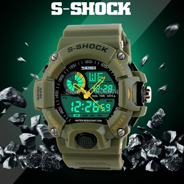 0eedba52703 Saiba mais. Marca SKMEI 1029 s choque relógios impermeável homens do  exército militar relógio analógico digital LED relógio
