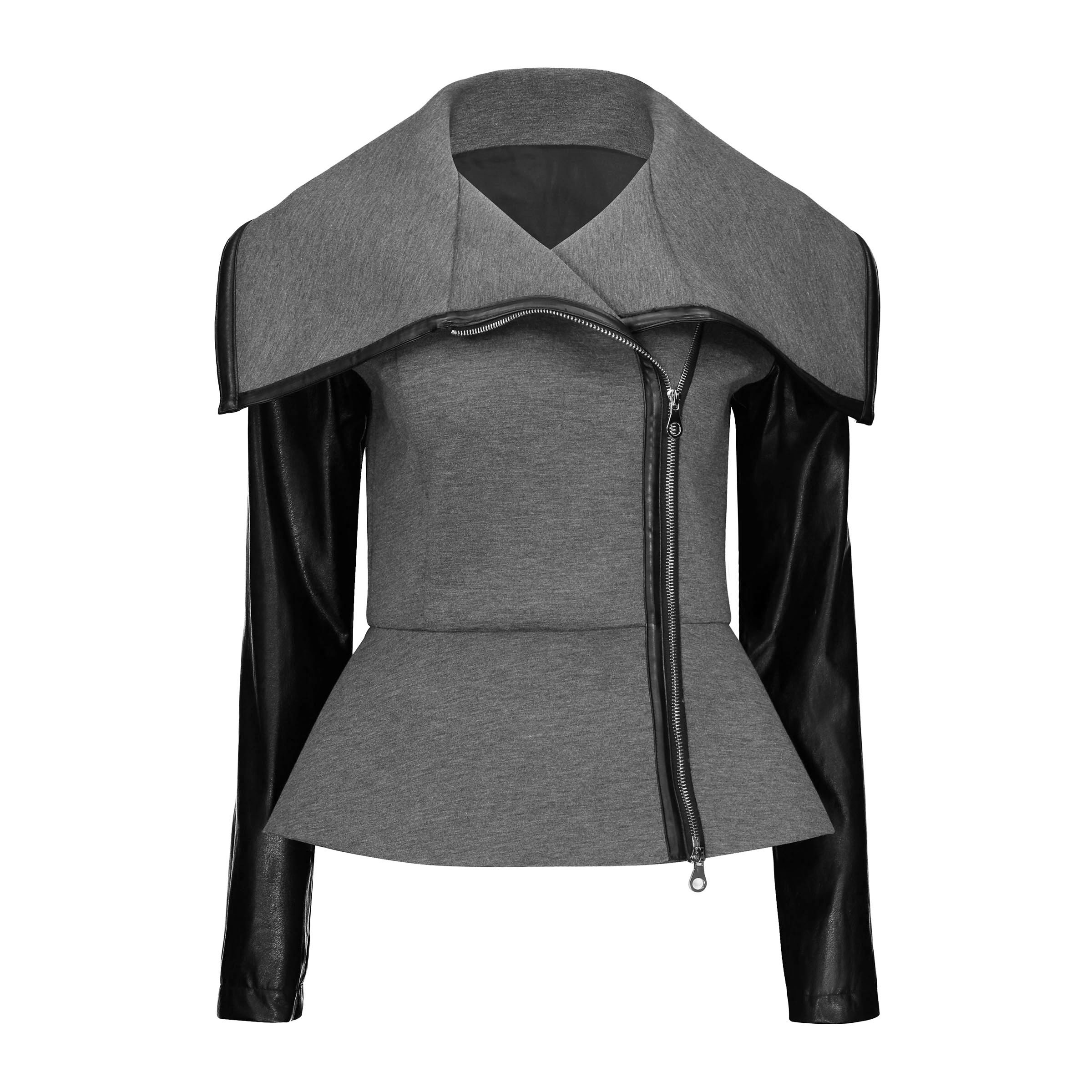 Goth Casual Jacket Coat Women Winter 2018 PU Leather Sleeve High Street Outerwear Stylish Skinny Simple Office Ladies Autumn Top