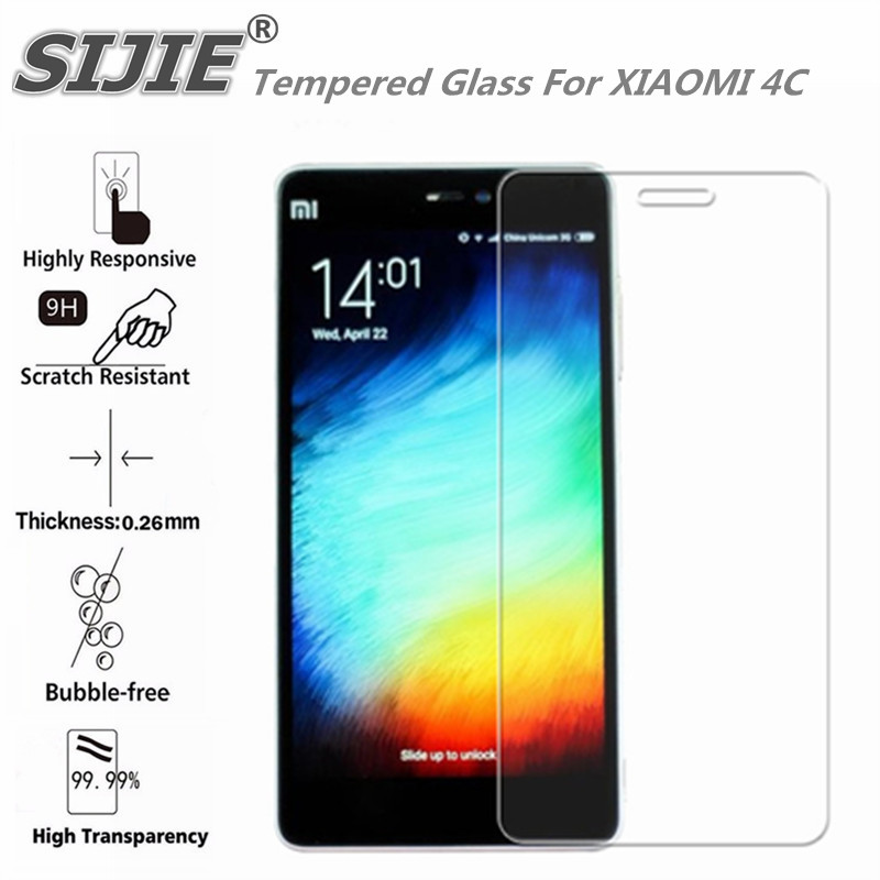 Tempered Glass For XIAOMI 4C MI4C MI M4C cover screen protective smartphone toughened case 9H on 5 inch crystals thin clear