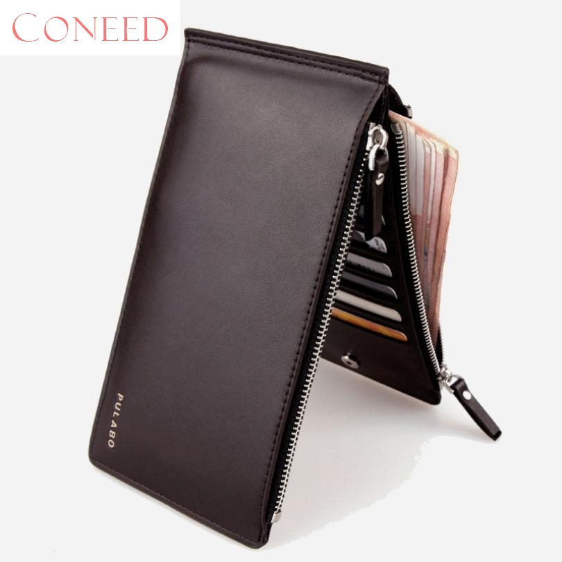 CONEED Charming Nice Best Gift Men Leather Card Cash Receipt Holder Ultra-Thin Zipper Wallet Purse Wholesale Sep19