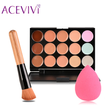 High Quality 15 Color Concealer Palette + Wooden Handle Brush + Gourd-shaped Puff Makeup Base Foundation Concealers Face Powder