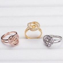 NEUE ANKUNFT Ring Halterungen Basis Erkenntnisse Einstellbare Ring Schmuck Set Teile Armaturen für Akoya Edison Perlen Jade Korallen Perlen
