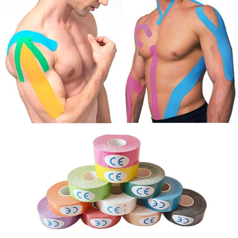 Elastic Cotton Roll Adhesive Tape 5cm Sports Muscle Tape Bandage Care Kinesiology First Aid Tape Muscle Injury Suppor in Elbow Knee Pads from Sports Entertainment