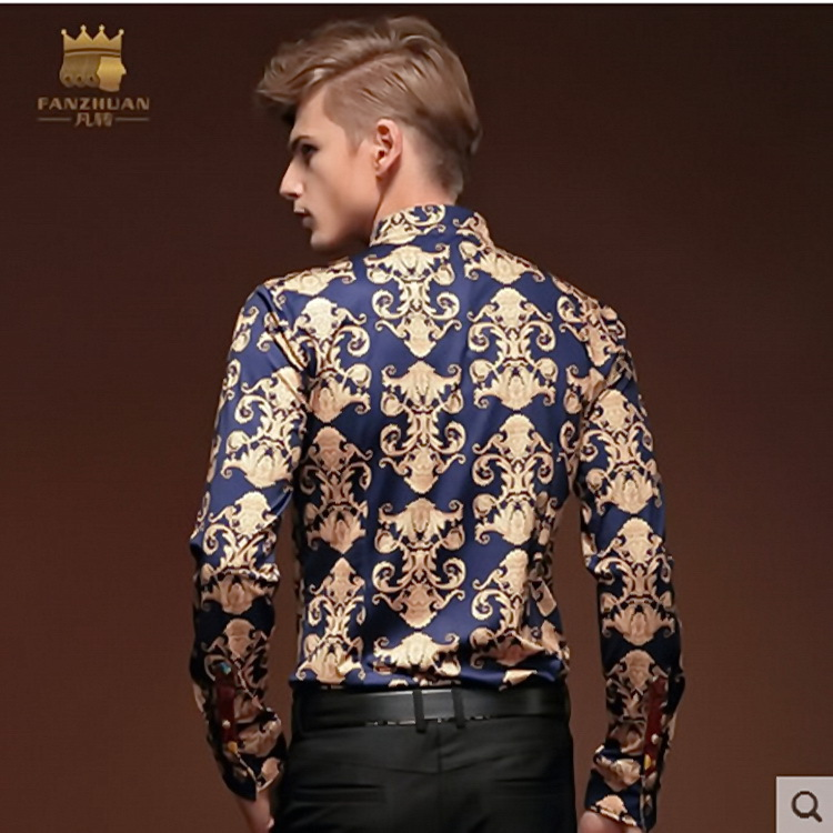 New Model High grade Vintage Baroque Printed Men Shirts Luxury ...