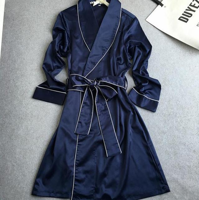 Elegante Rosa de Las Mujeres del Nuevo Estilo de Satén Albornoces Batas Pijamas Vestido Con Cinturón de Manga Larga ropa de Dormir Camisón Sexy Vestido De Noche