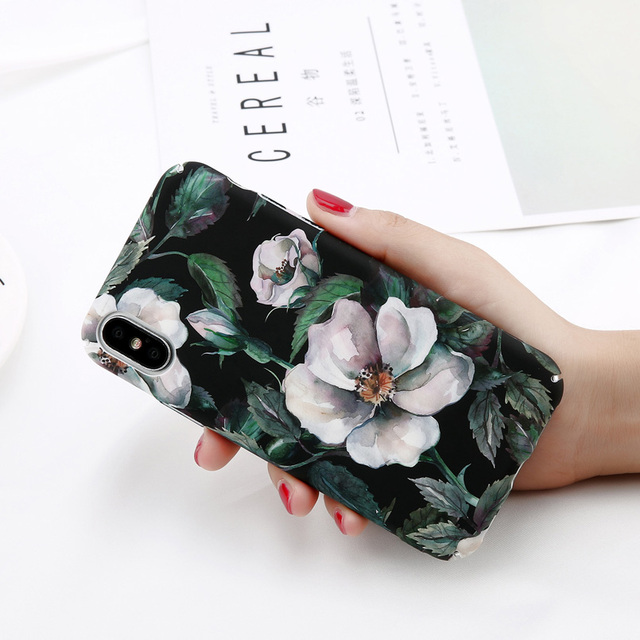 USLION Camellia Flower Leaf Marble Phone Case For iPhone X Cherry Rose Floral Case For iPhone 7 8 6 6S Plus Hard PC Cover Coque 4