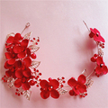 TS186 bridal headdress retro alloy simulation flower hair accessories hairpins handmade bridal jewelry red wedding jewelry