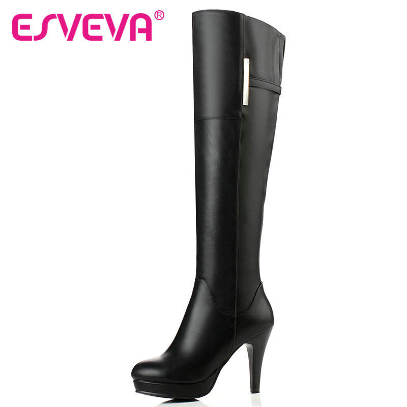 ФОТО ESVEVA Party Sexy Shoes Women PU Black Thin High Heel Round Toe Slip on Over The Knee Boots Women Fashion Long Boot Size 34-40