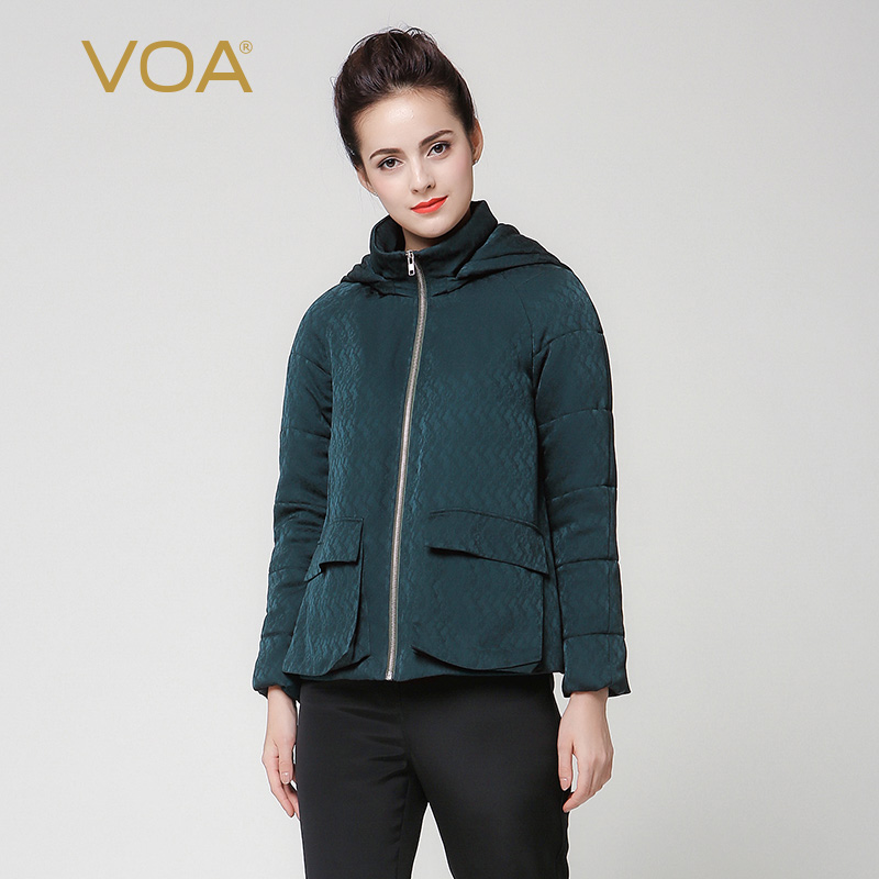 VOA 2017 Winter Dark Green Long Sleeve Heavy Coat Long Sleeve Plus Size Simple Solid Hat Pocket Thicker Women Short Tops M7252 куртка turbokolor ewald plus jacket fw13 dark green l