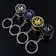 цена на Rings Round New Design Cool Luxury metal Keychain Car Key Chain Key Ring creative wheel hub chain For Man Women Gift 3 Colors
